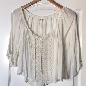 Hollister Off White Sheer Top With Lace Down Front